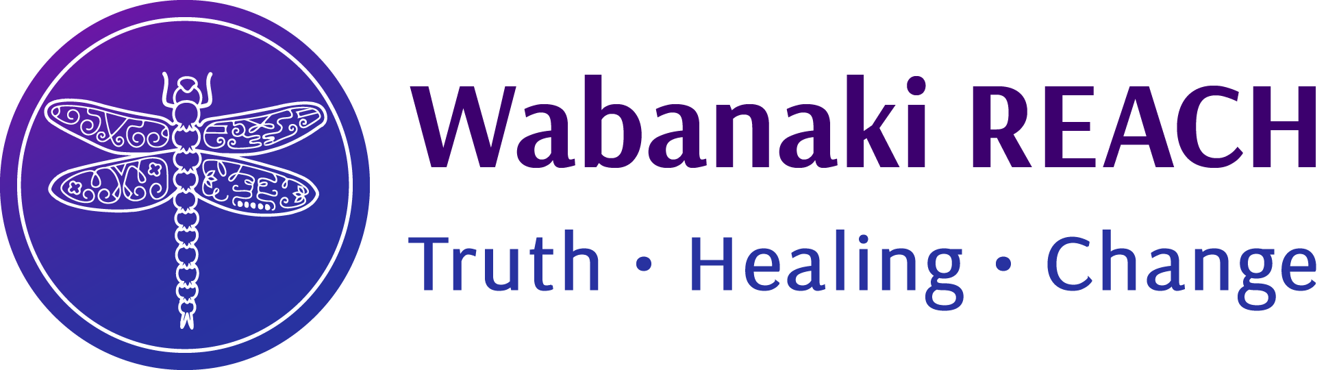 "White dragonfly in the middle of a purple and blue circle next to the words ""Wabanaki REACH"" and ""Truth, Healing, Change."""