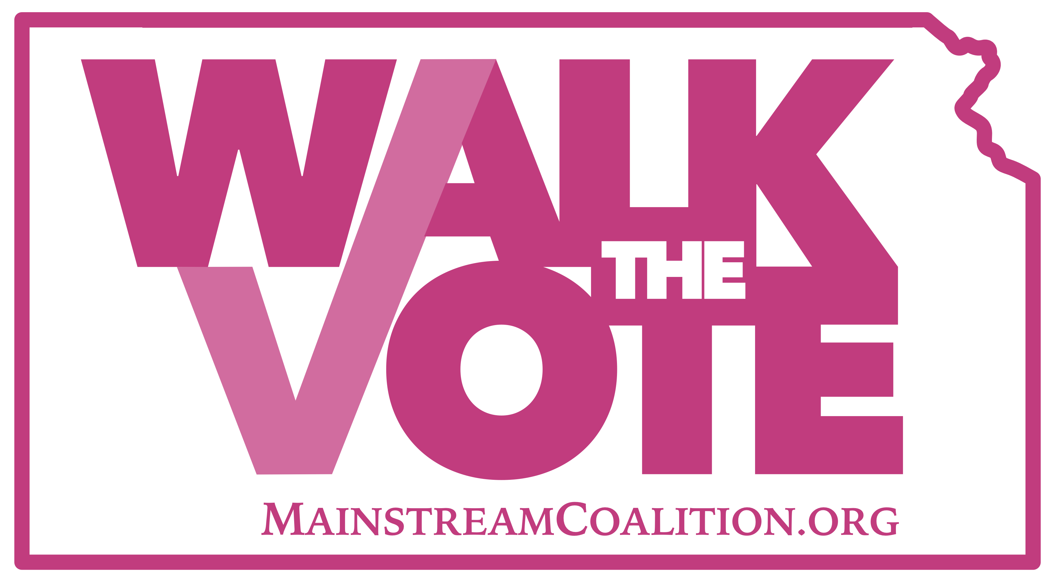 Walk the Vote logo in Kansas outline