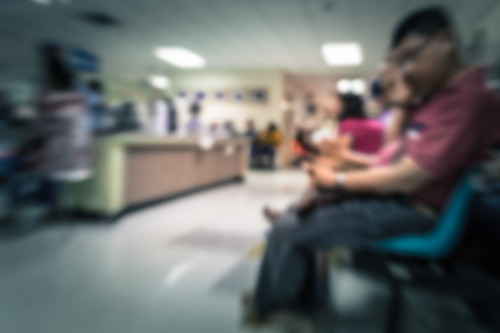 Blurred hospital waiting room