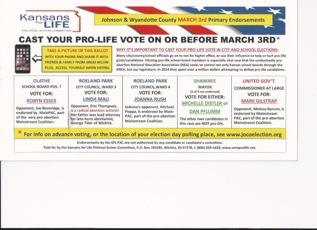 Postcard sent by KFL for Spring 2015 local elections
