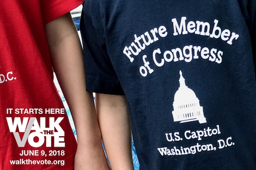 Kids wearing shirts that say Future Member of Congress