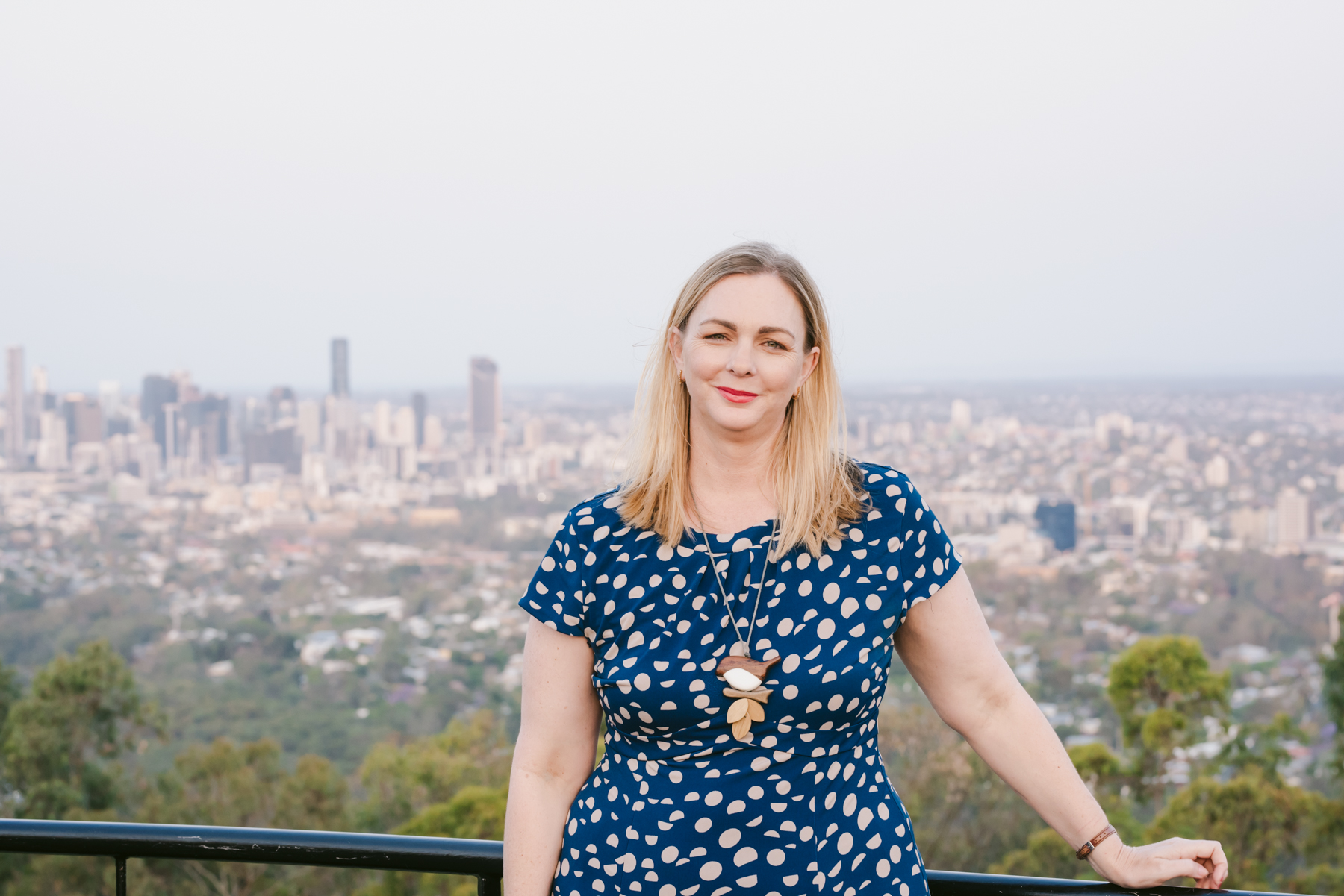 Michaela Sargent standing at Mt Coot-tha lookout