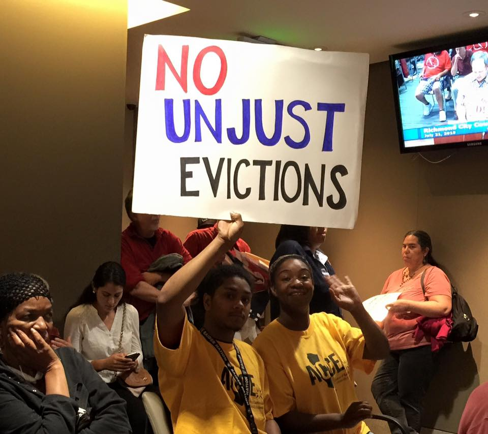 Two ACCE members demanding an end to unjust evictions in Richmond and across CA.