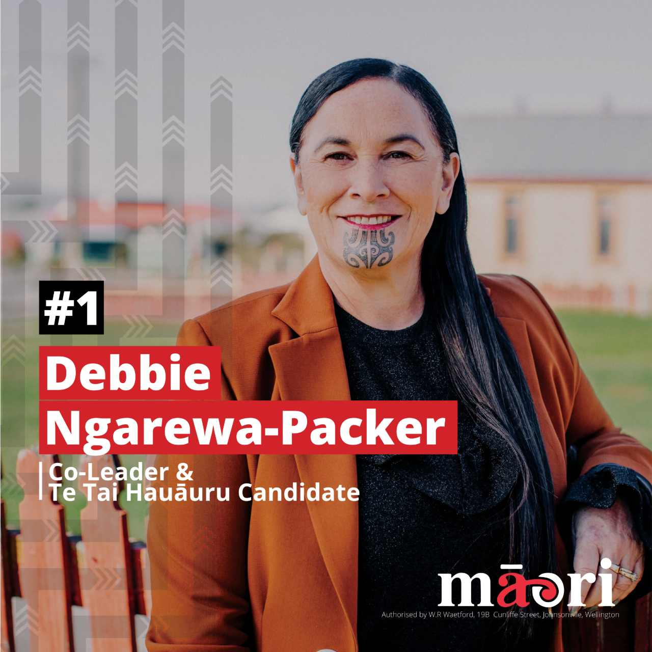 Debbie Ngarewa-Packer, Co-Leader and Te Tai Hauāuru Candidate