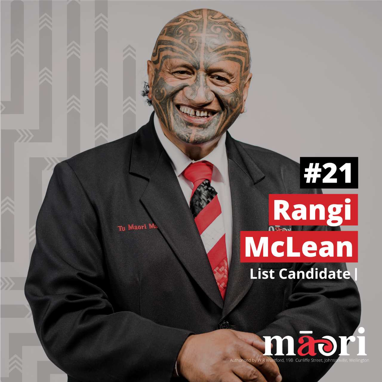 Tunuiarangi Rangi McLean, Māori Party Tāne Vice-President and List Candidate
