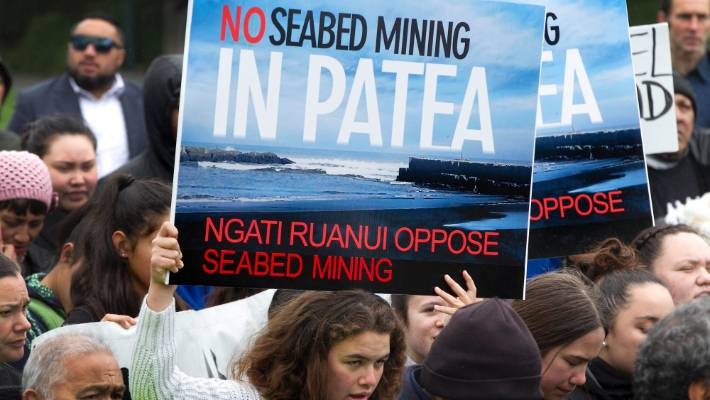 Protectors holding sign that reads no seadbed mining in patea