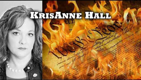 KrisAnne with Constitution in flames