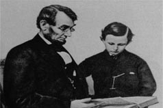 President Lincoln reads to his son