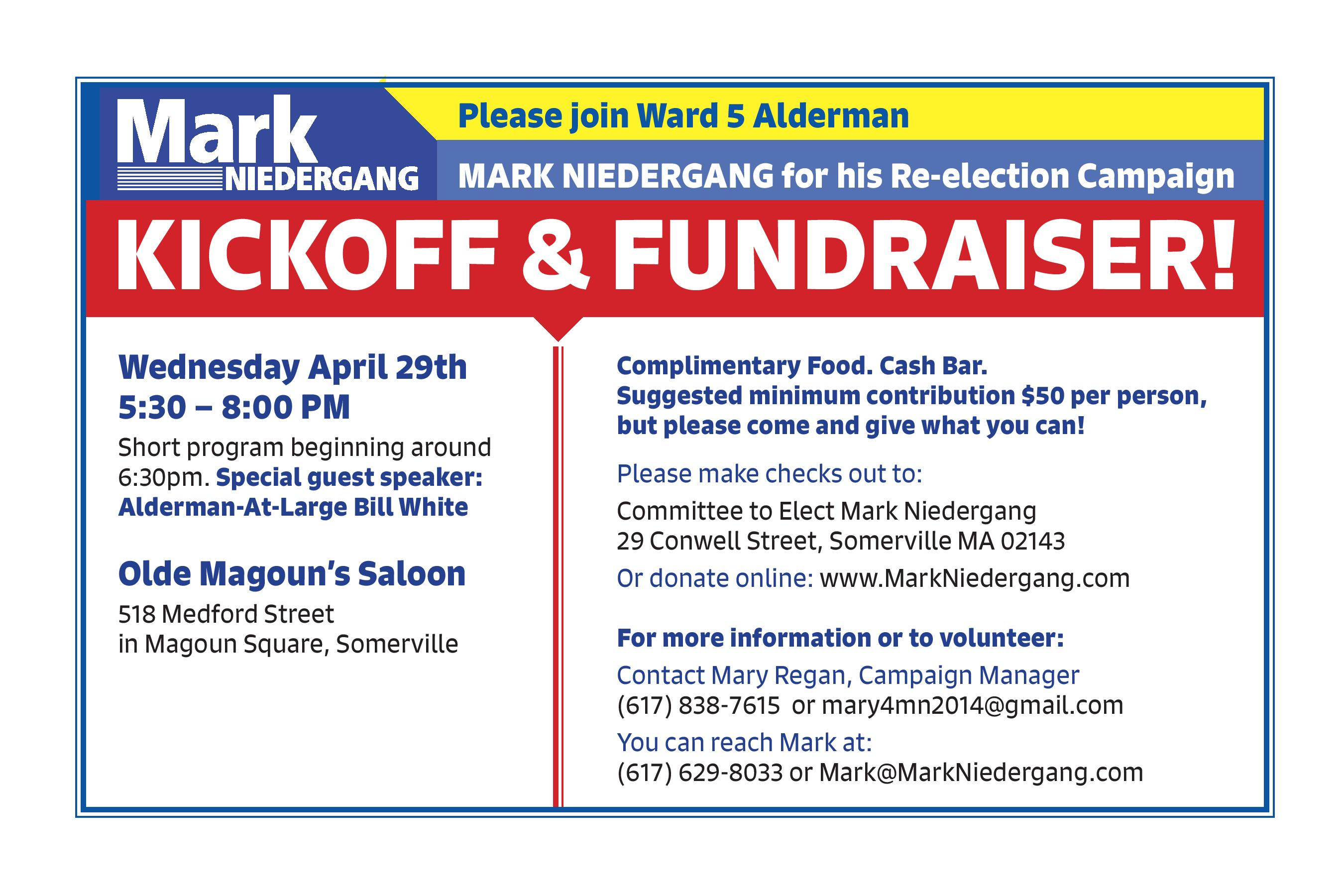 Re-election Kickoff and Fundraiser