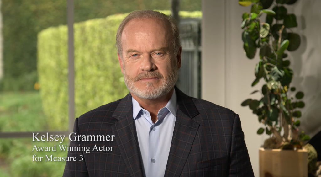 ACTOR KELSEY GRAMMER URGES NORTH DAKOTANS TO VOTE YES ON MEASURE 3