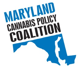Maryland Cannabis Policy Coalition Logo over top of the Maryland State Siloutte