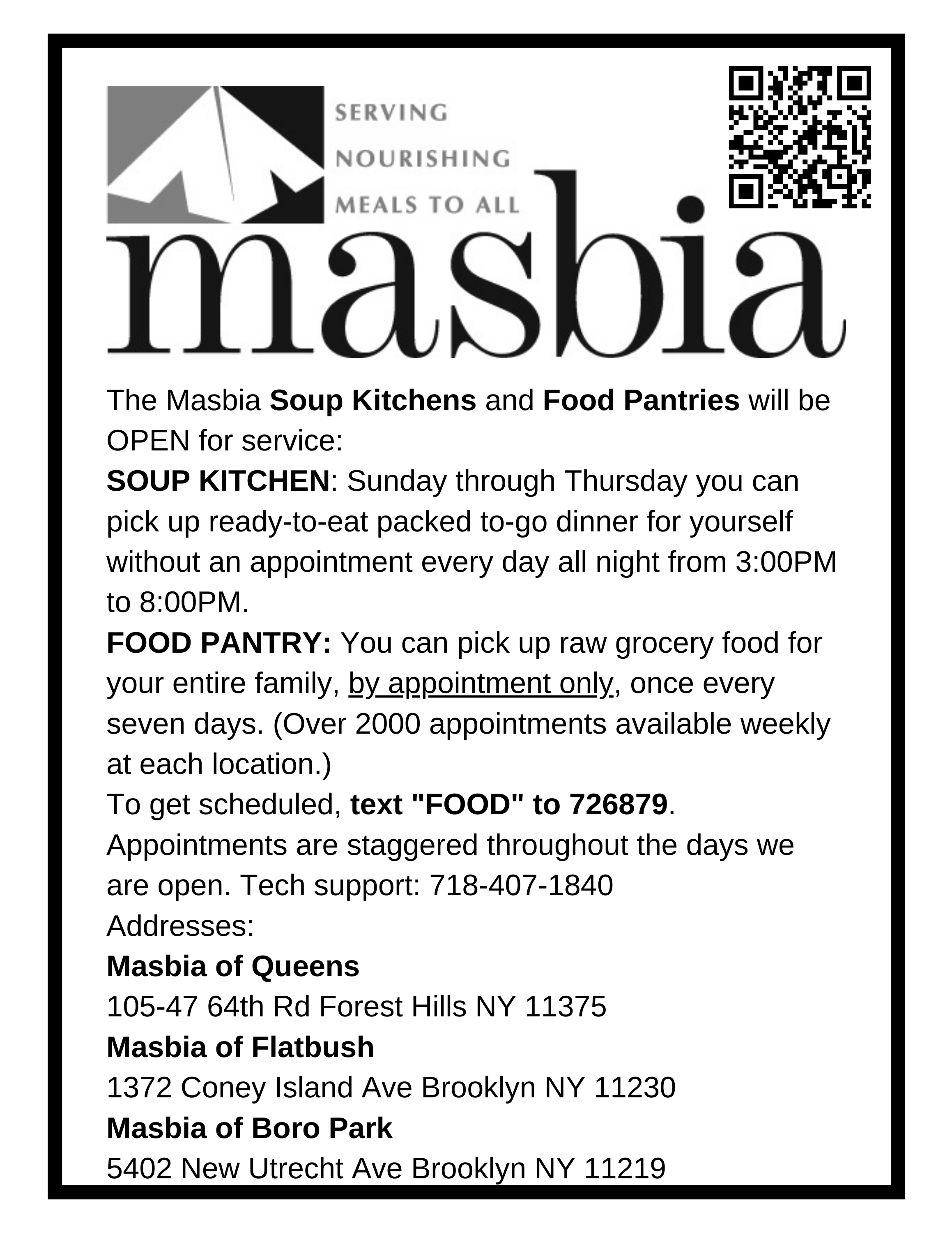 Masbia Soup Kitchens and Food Pantries hours