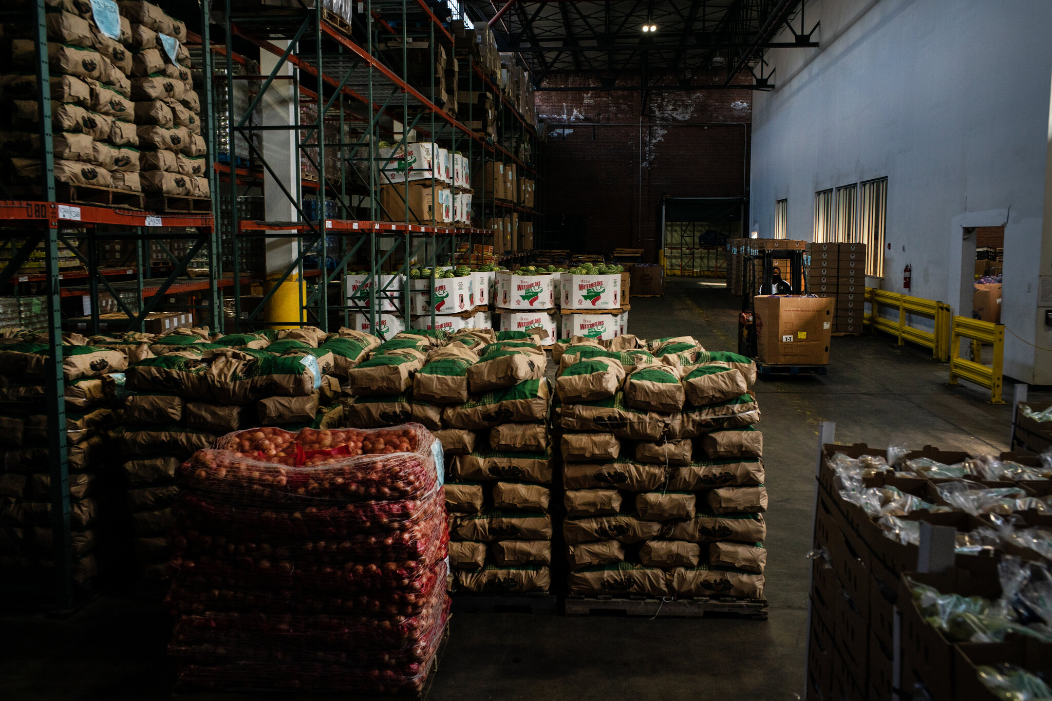 Warehouse of food that soon will be delivered to Masbia Soup Kitchen Network, and other non-profit organizations, to be shared with people in the needy.