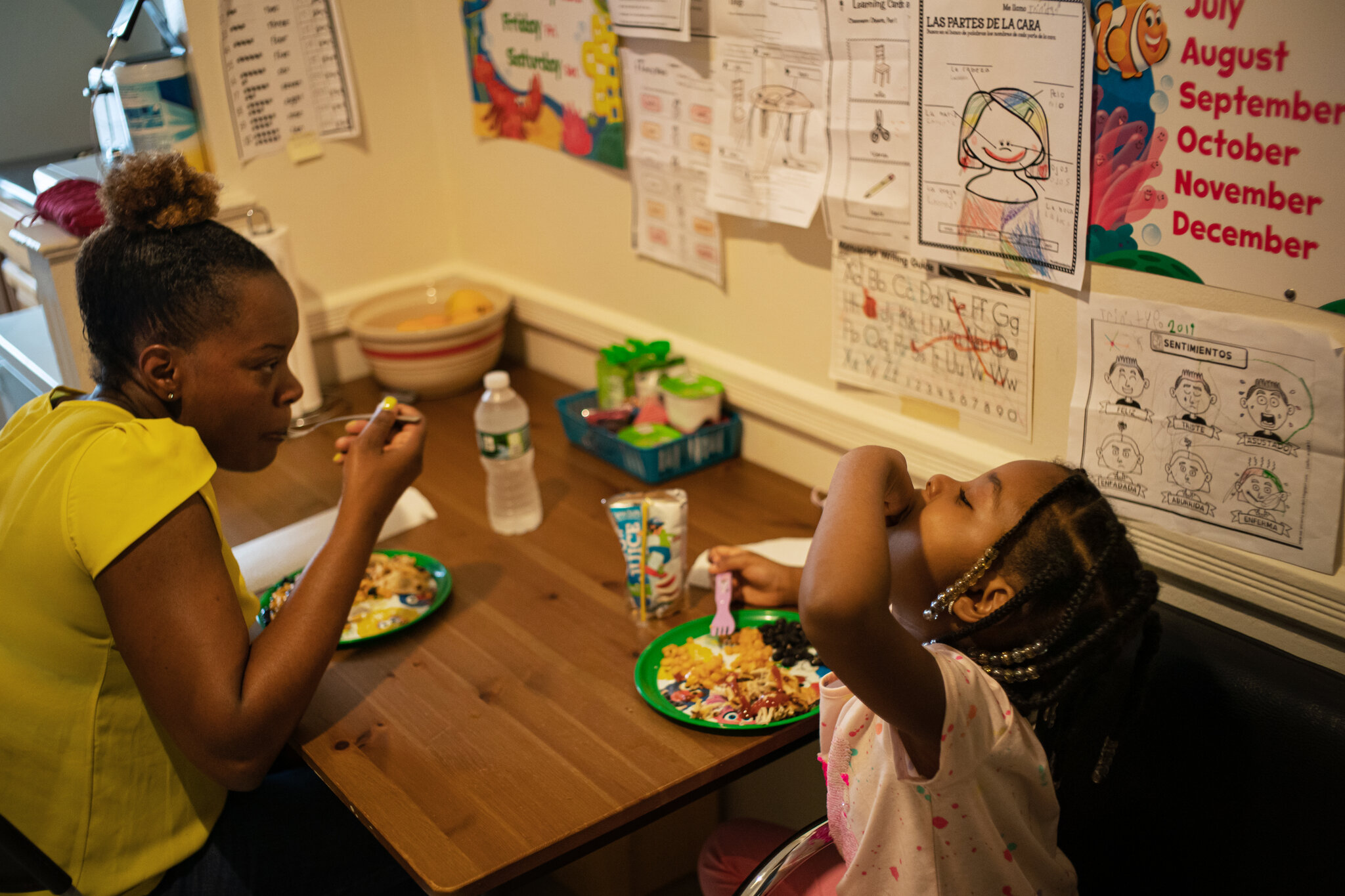 Leslie and her daughter Trinity enjoying the meal that nonprofit organizations like Masbia in Brooklyn or BronxWork make it possible for people that are struggling during the pandemic. Photo was taken by Todd Heisler.