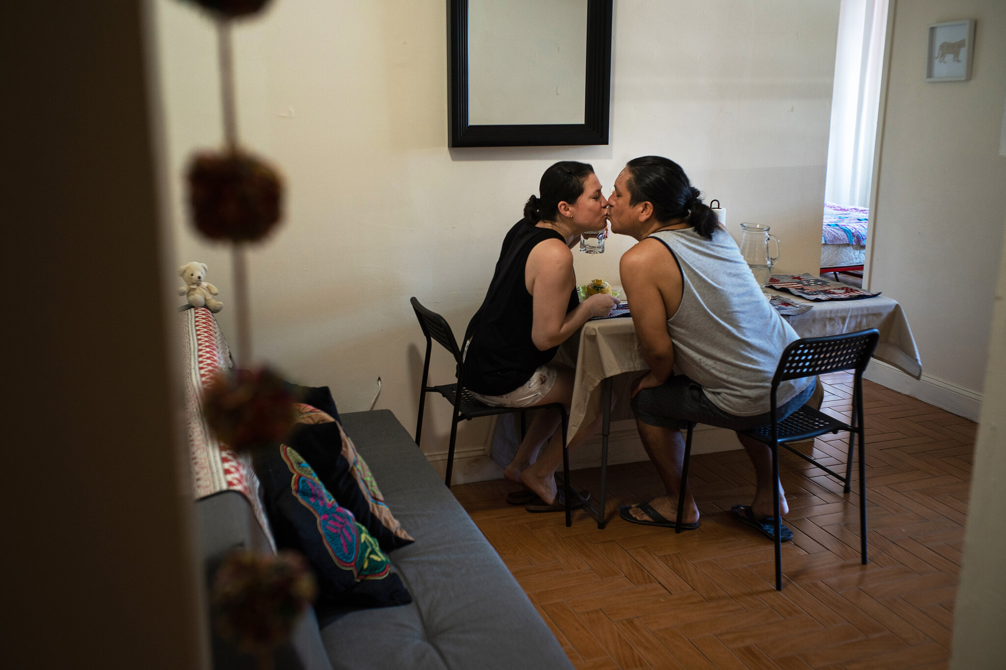 jose y leyla enjoying their meal made with food from Masbia of Flatbush in Brooklyn