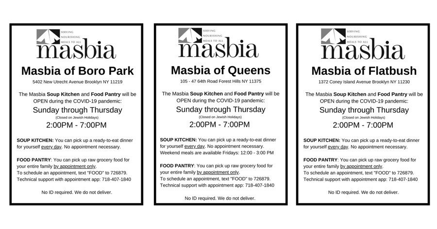 Masbia informative posters