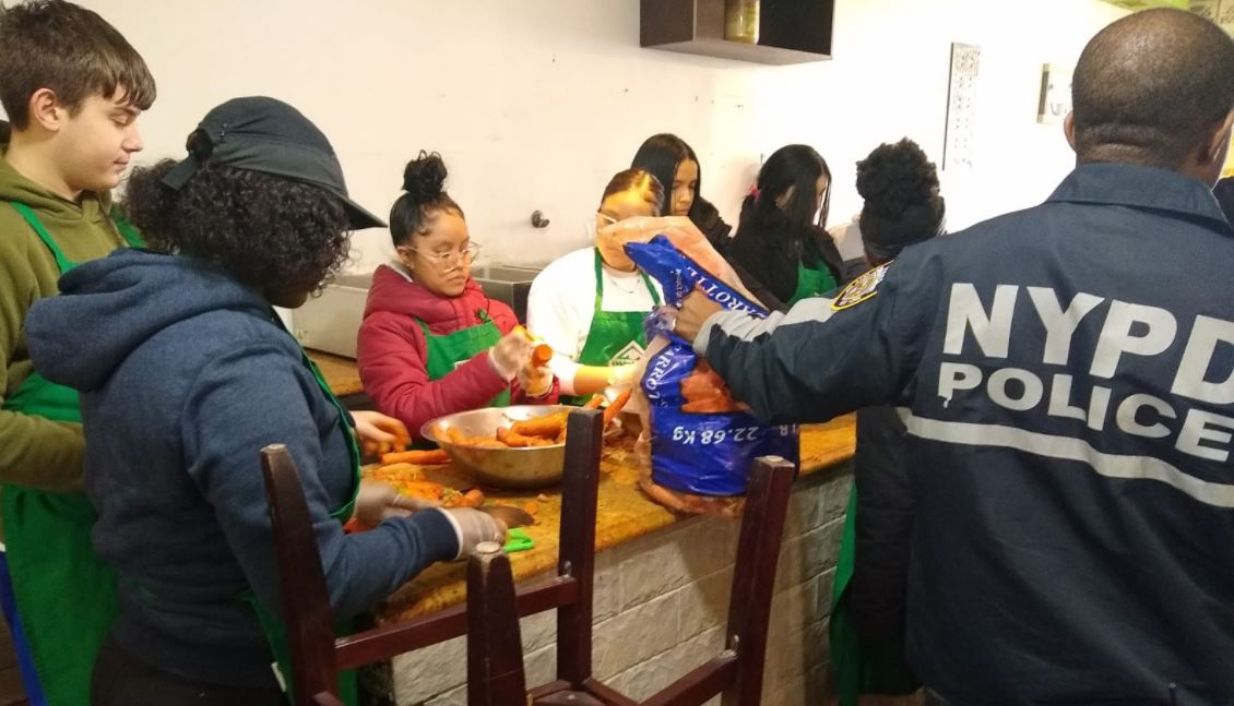 NYPD Youth Leadership Law Enforcement Explorers volunteer at Masbia of Flatbush