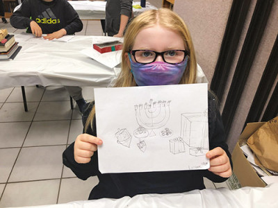 student at Nefesh Yahudi Academy draw inspired by Alexander Rapaport idea to create Masbia Soup Kitchen