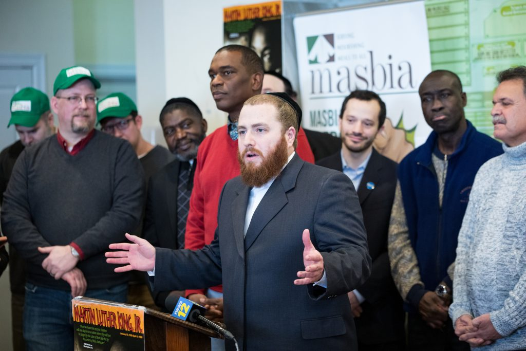 Avi Greenstein speech during MLK Day at Masbia Soup Kitchen