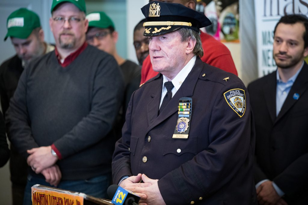 NYPD Deputy Chief Inspector Charles Scholl speech during MLK Day at Masbia Soup Kitchen