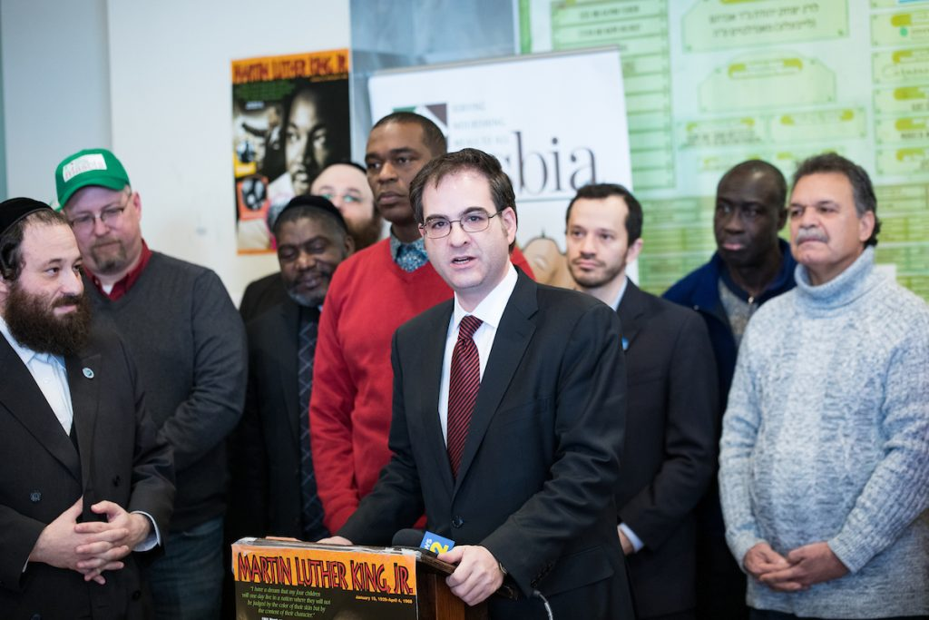 City Councilman Kalman Yeger speech during MLK Day at Masbia Soup Kitchen