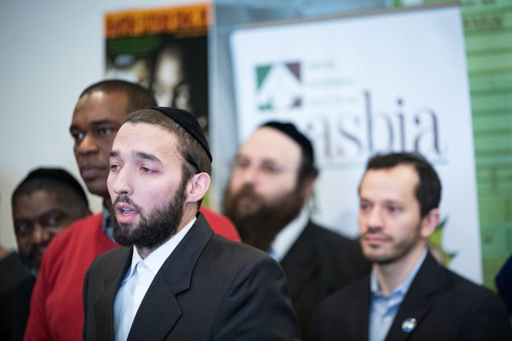 State Assemblyman Simcha Eichenstein speech during MLK Day at Masbia Soup Kitchen