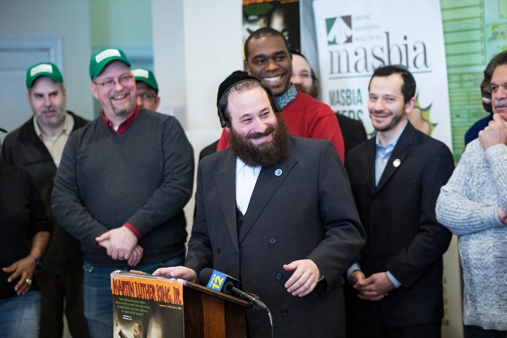 Rockland County Legislator Aron Wieder speech during MLK Day at Masbia Soup Kitchen