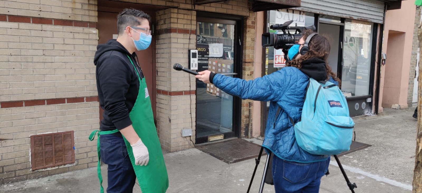 chelsea Kat of NY1 interviewed chef Ruben Diaz of Masbia during MLK Day in covid-19 times
