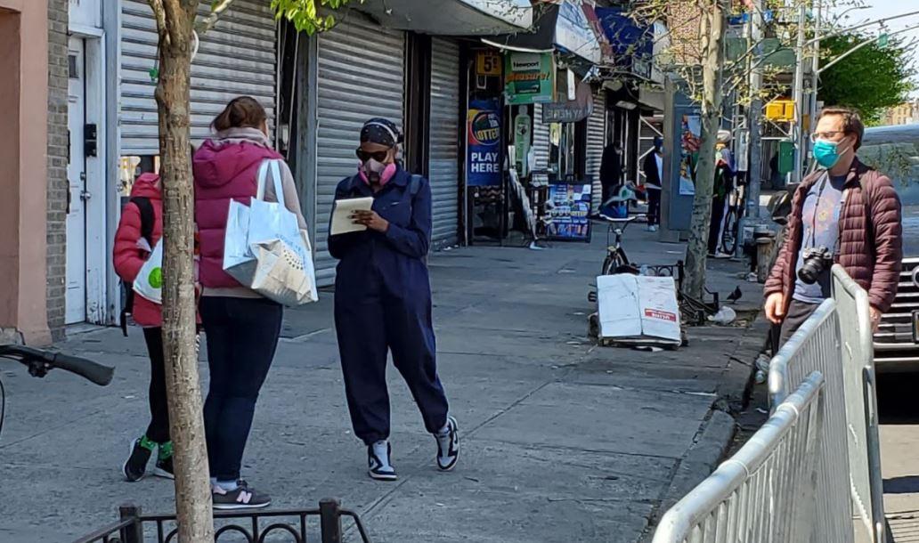 NYT reporter Nikita Stewart at Masbia of Flatbush on the sidewalk