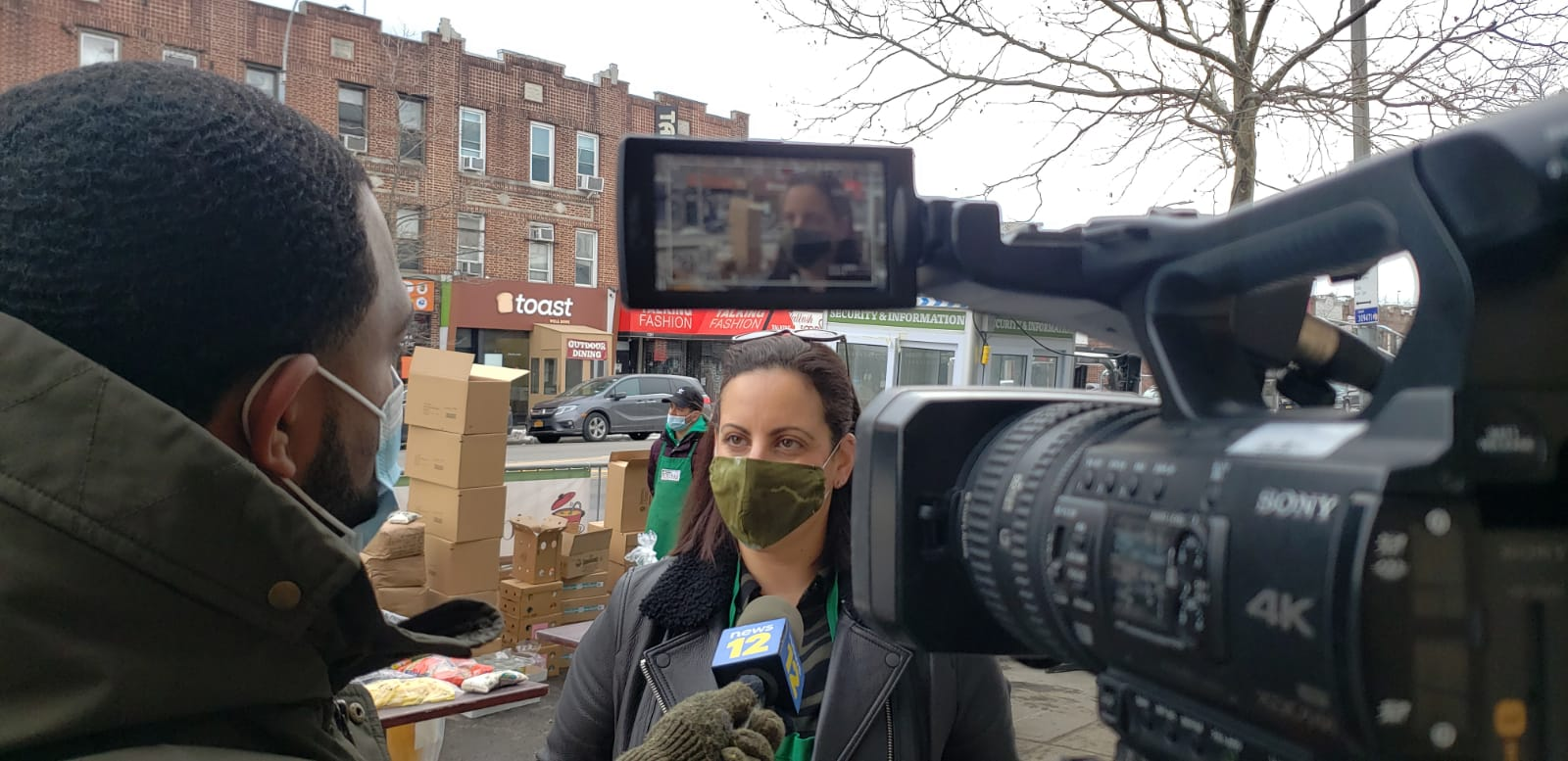 Reporter Phil Taitt of New12 interviewing our COO Chef Jordana Hirschel at Masbia Of Flatbush