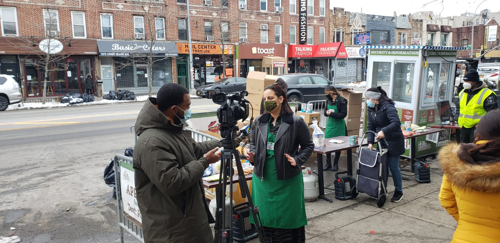 Reporter Phil Taitt of New12 interviewing our COO Chef Jordana Hirschel at Masbia Of Flatbush about Masbia expanding its locations to reach out to more people