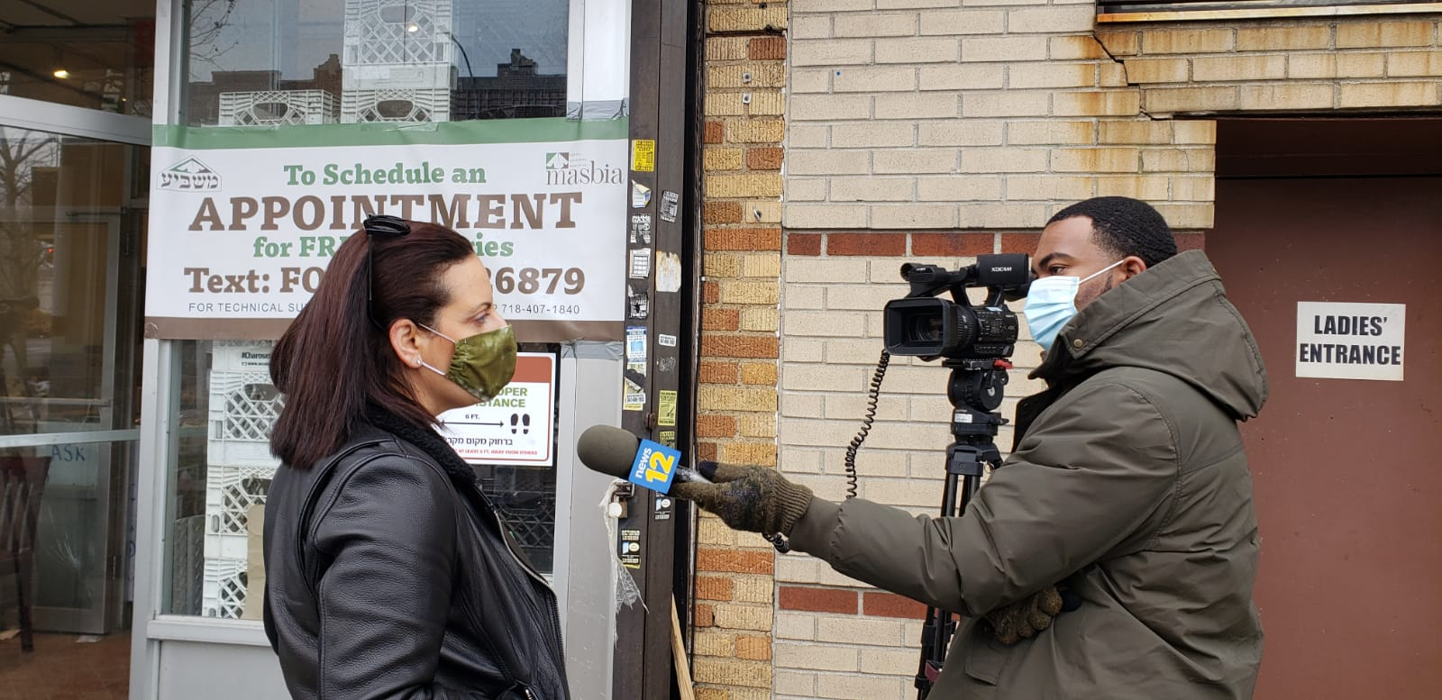 Reporter Phil Taitt of New12 interviewing our COO Chef Jordana Hirschel at Masbia Of Flatbush about Masbia expanding its locations