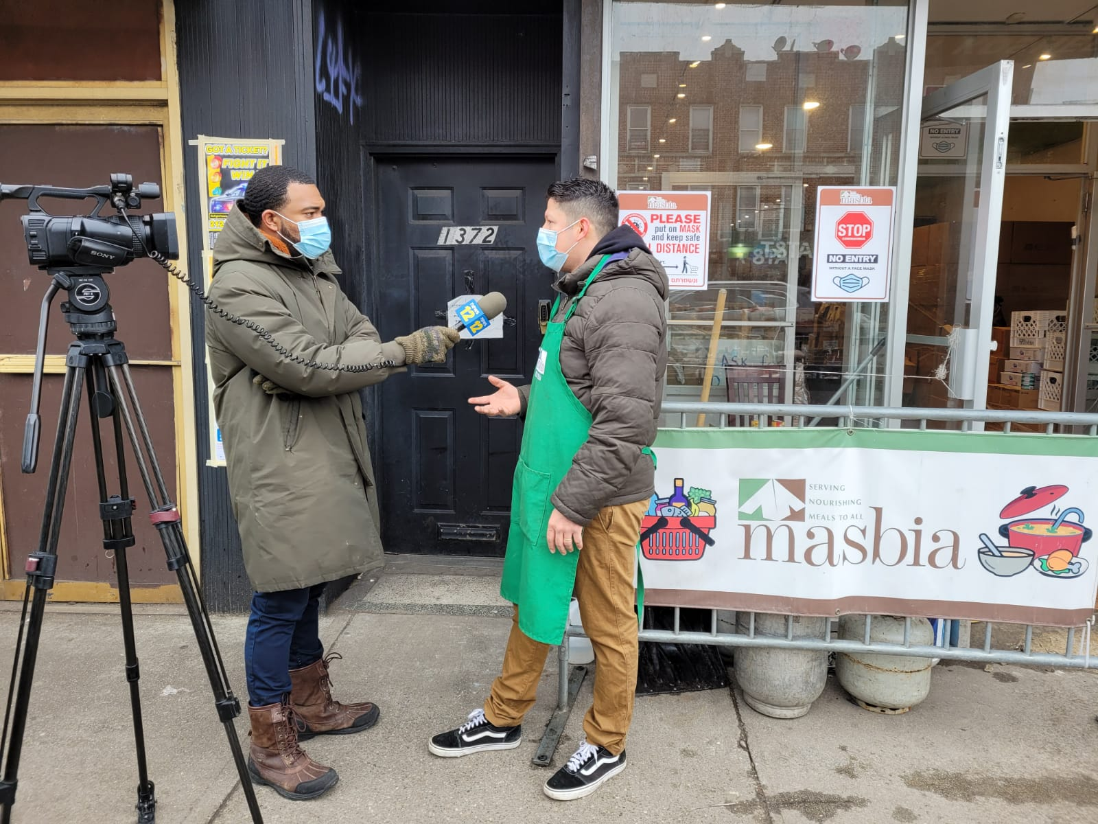Reporter Phil Taitt of New12 interviewing our Chef Ruben Dias at Masbia Of Flatbush about Masbia expanding its locations