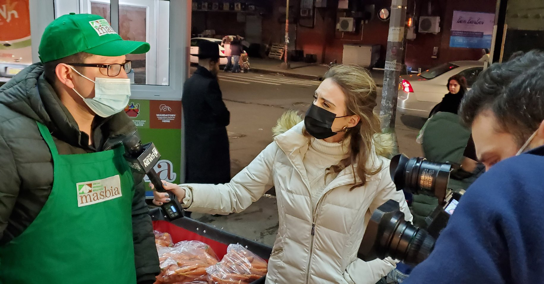 reported Shannan Ferry of NY1 at Masbia Boro Park reporting about soup kitchen workers are eligible for covid-19 vaccine