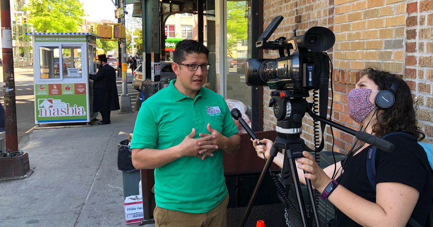 voter-registration-drive-NY1-camera-Chelsea-Katz-interviewing-chef-Ruben-Diaz