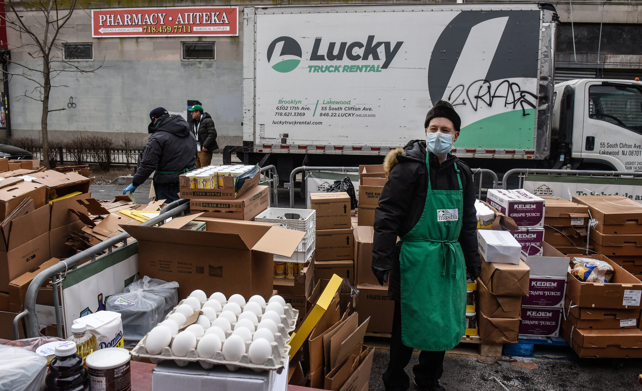 Distributing food for the Masbia Soup Kitchen Network in Queens in March