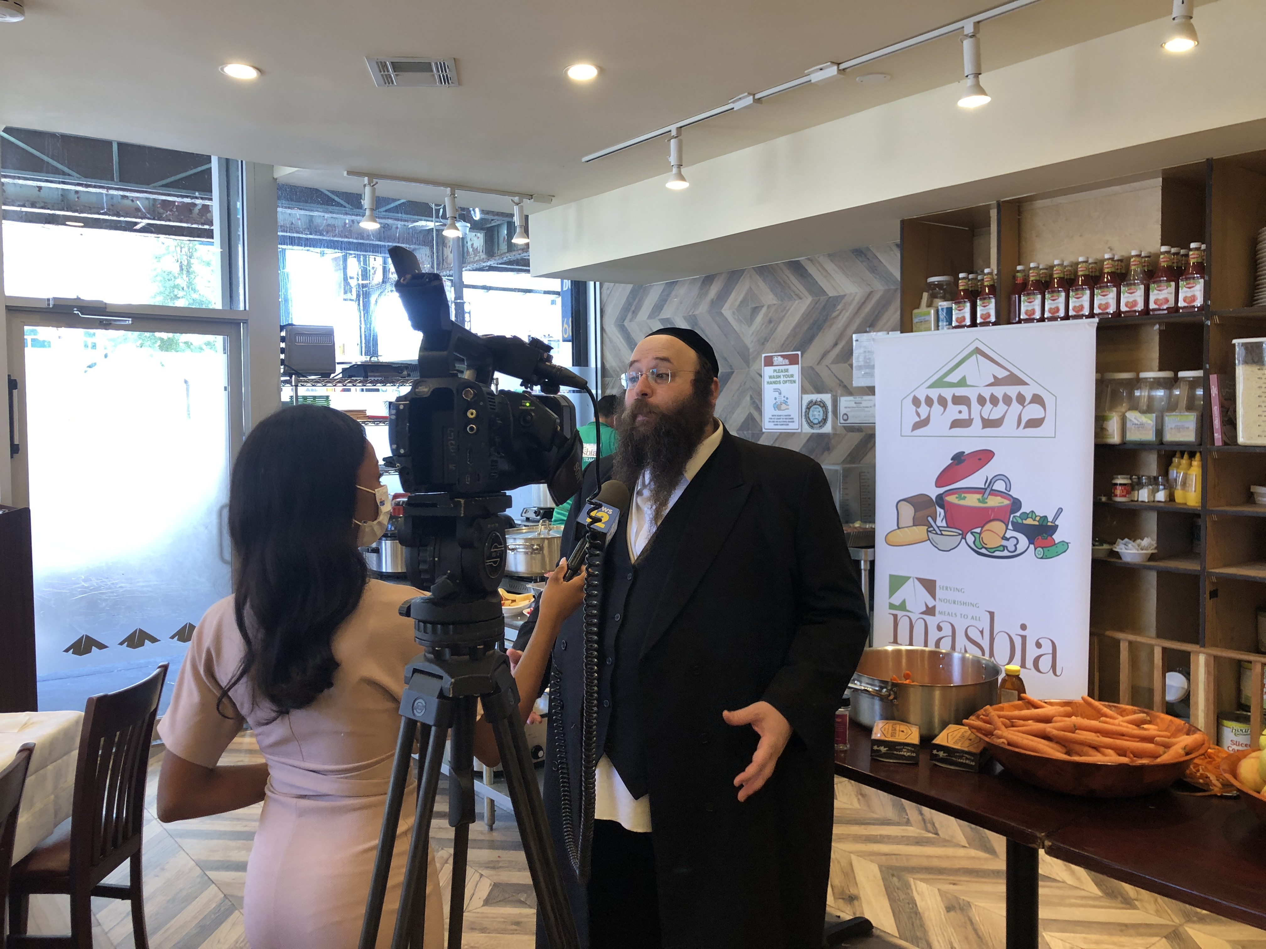 rosh hashana masbia boro park zhane caldwell news12 brooklyn interviewing ED Alexander Rapaport before the beggining of Rosh Hashana