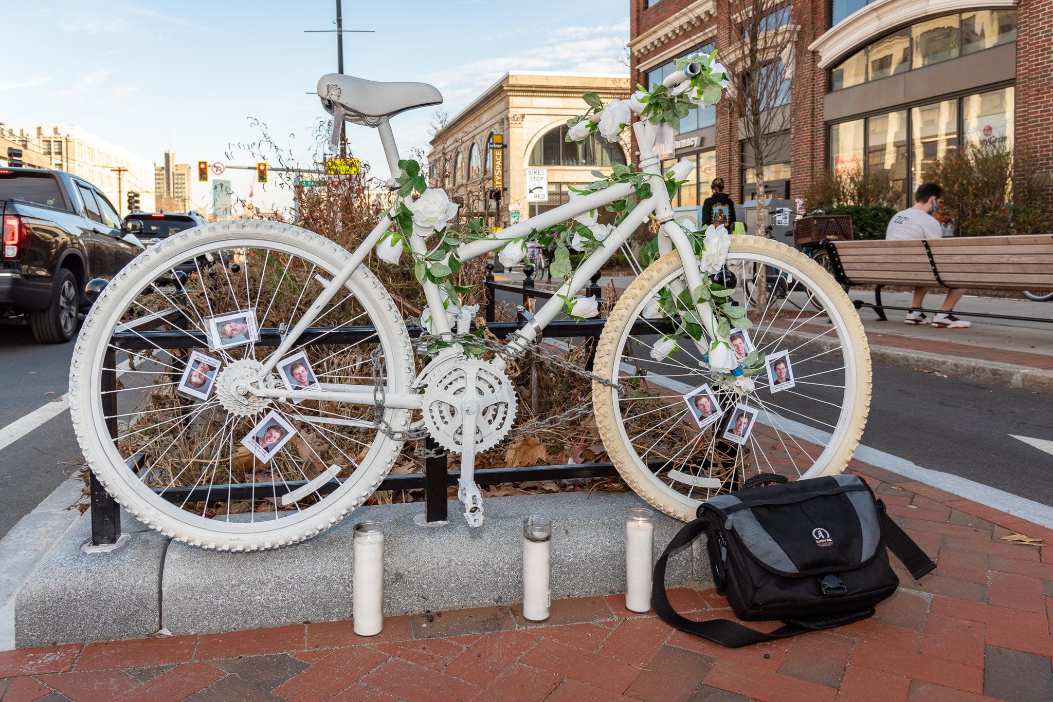 Ghost Bike with camera bag