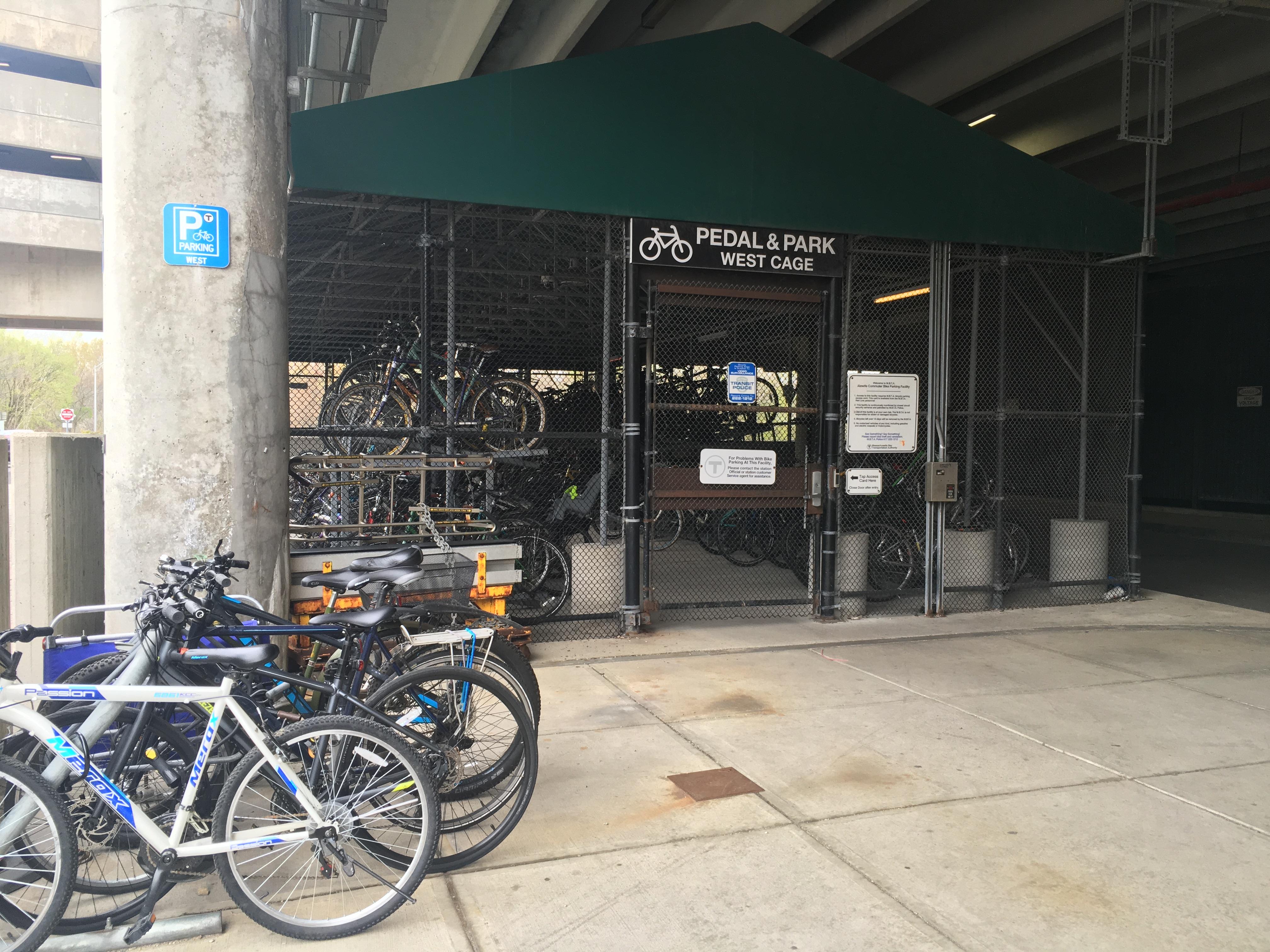 Alewife Bike Cage photo by Christina MilNeil Streetsblog Mass