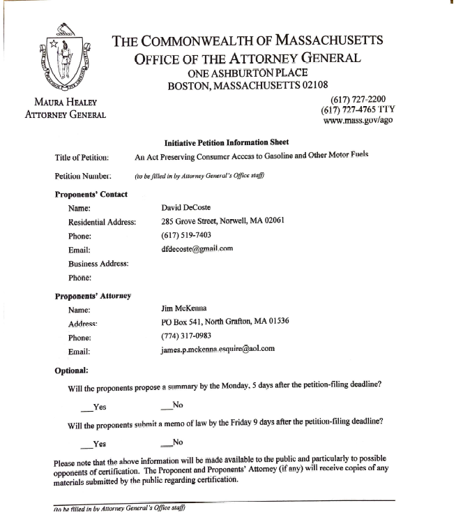 Cover of the Transportation & Climate Initiative Roll Back Question Submitted to the Massachusetts Attorney General's Office.