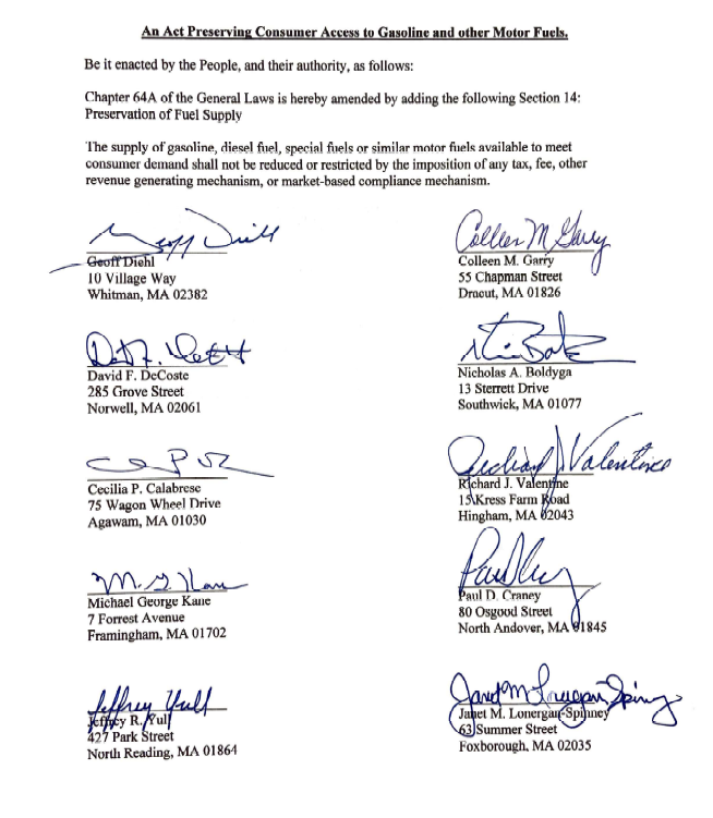 Signatories bringing forward the petition seeking to rollback the Transportation & Climate Initiative in Massachustets.