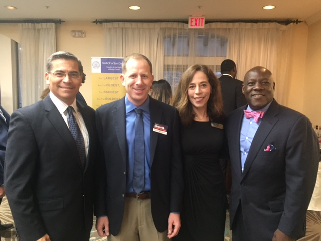 With California Attorney General Javier Bacerra, City Attorney Mara Elliott, and Eugene Mitch Mitchell VP of State and External Affairs for SDG and E at the SD NAACP Freedom Fund Dinner