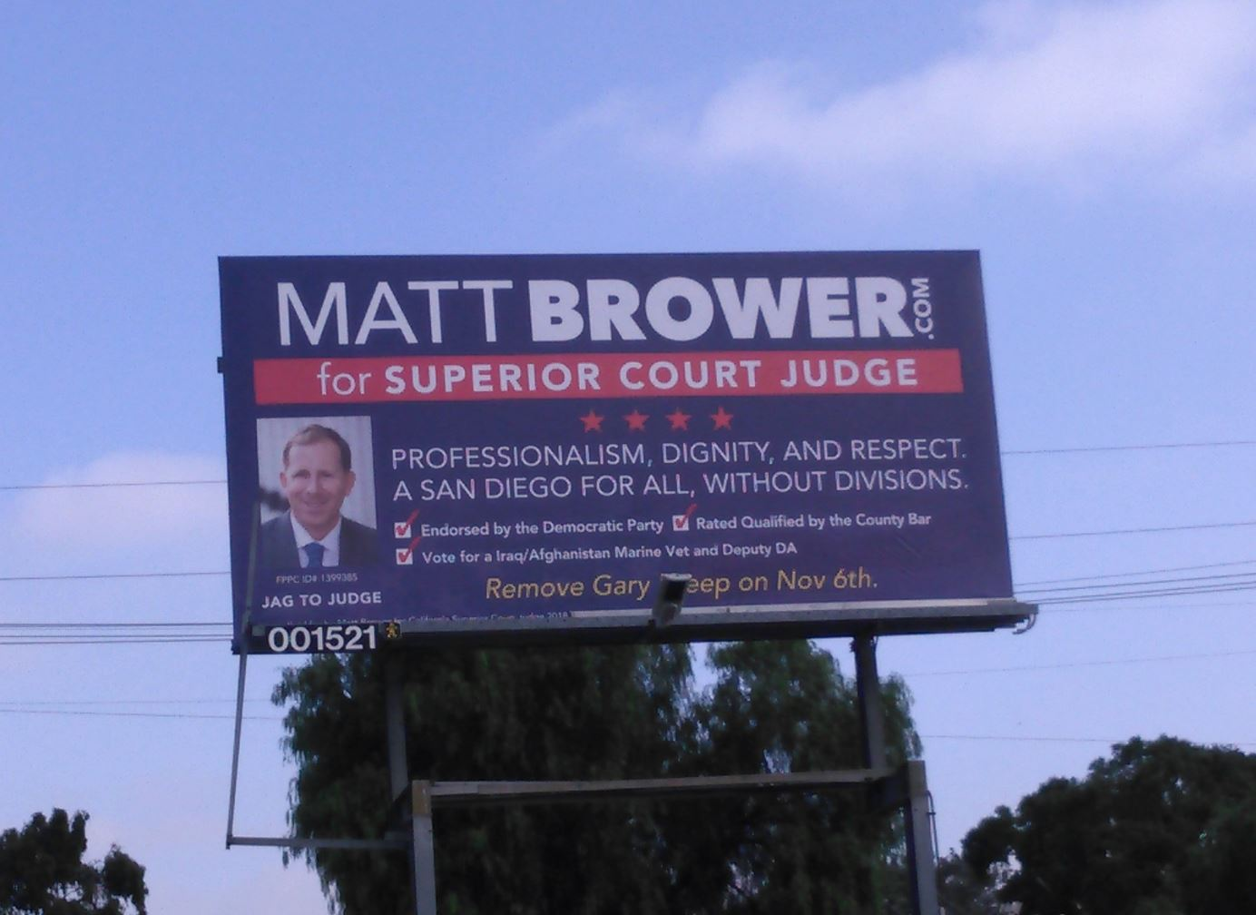 Brower 4 Judge Billboard in North Park Oct 18