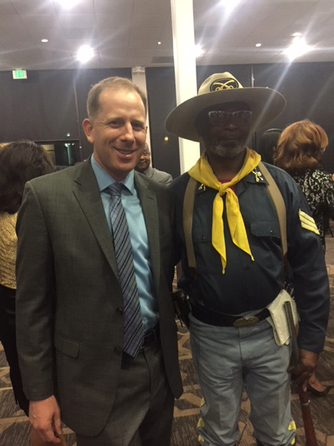 With a Buffalo Soldier Reenactor at the BAPAC Annual Gala in October 2018