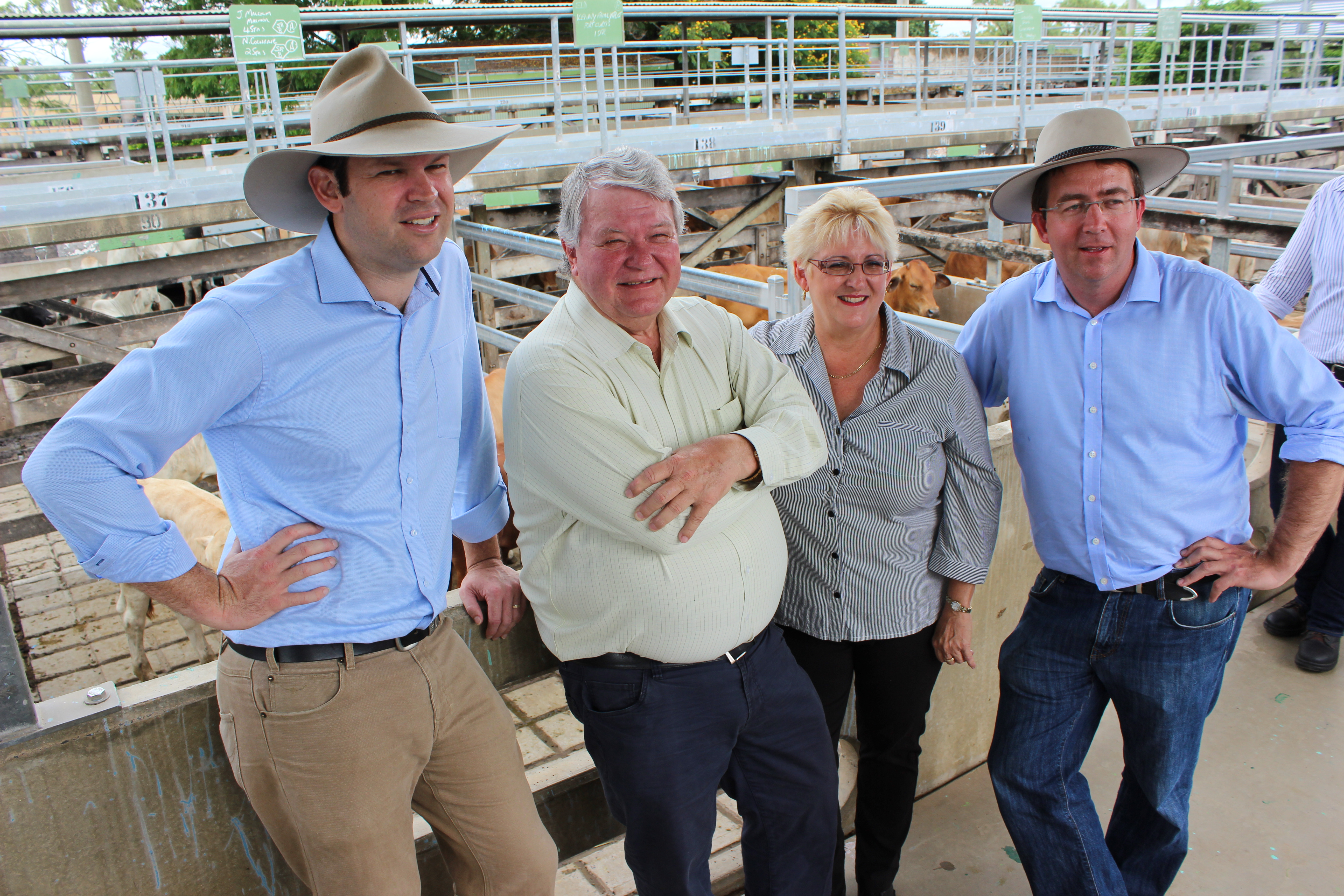 Michelle Landry MP,  Senator Matt Canavan and Ken O'Dowd MP and  Senator James McGrath at the CQ cattle selling complex near Rockhampton.  The beef sector will be hit hard by Labor's vegetation laws in Qld.
