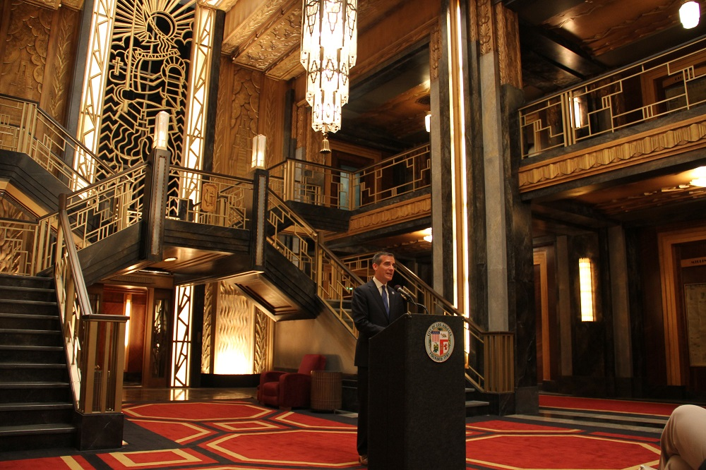 Mayor garcetti discusses positive economic impact of for Ahs hotel decor