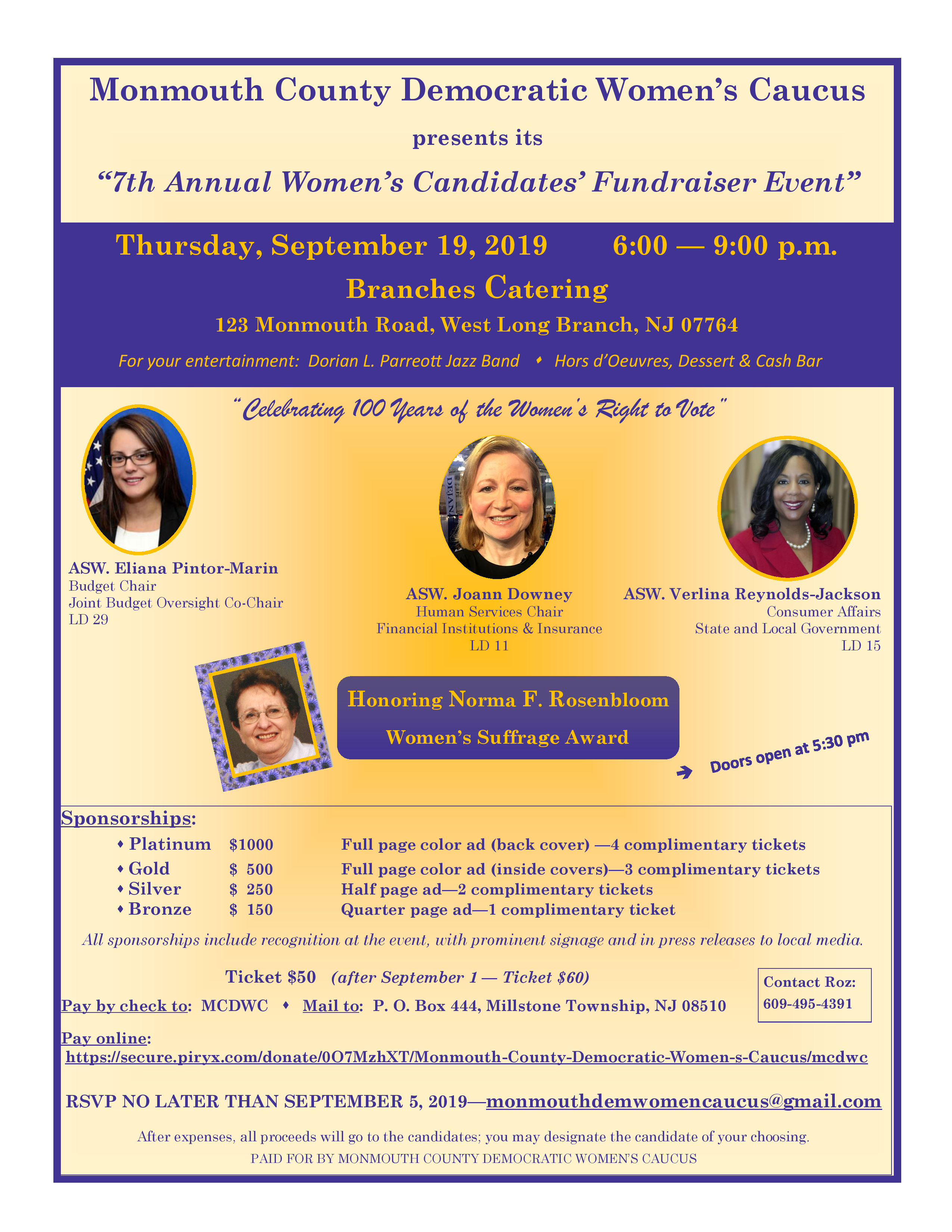 Flyer for 2019 Women Candidates Fundraiser