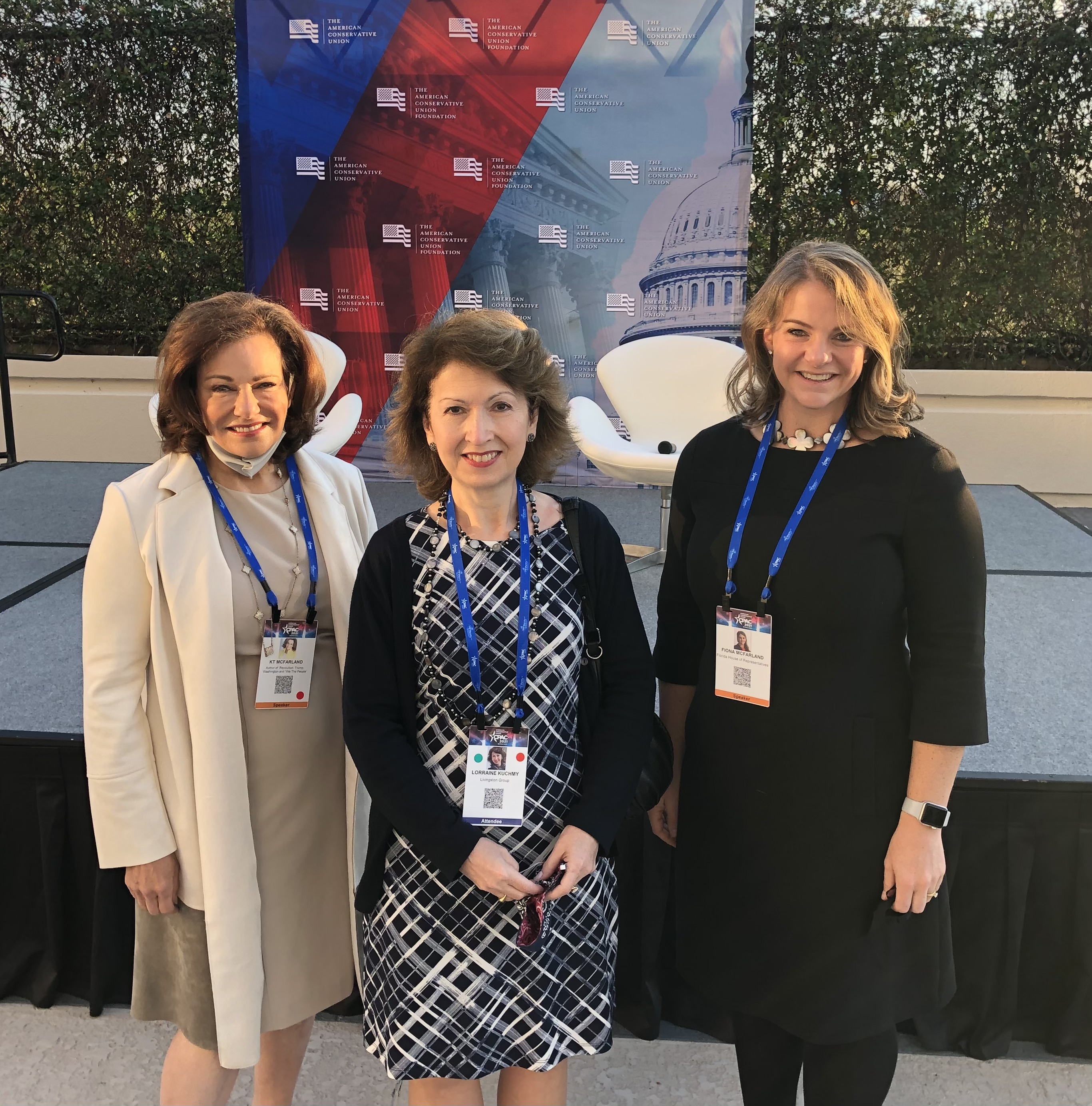 Lorraine Kuchmy, MCGOP Committeewoman with KT McFarland, former Deputy National Security Advisor, and FL State Delegate Fiona McFarland at CPAC in Orlando, Florida.