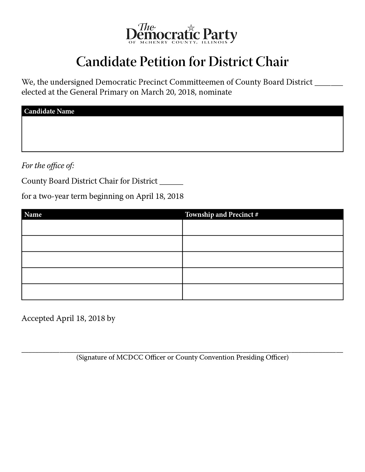 District Chair Nominating Petition
