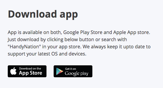 HandyNation App Download Buttons